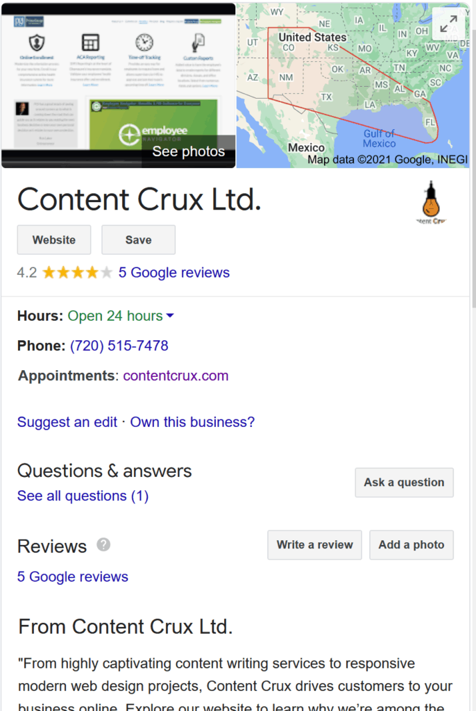 Content Crux Local SEO Services; Google Search Result business screenshot